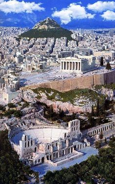 GRECIA Herodes Atticus Theater, The Parthenon and Lycabettus Hill ~ This is Athens Places Around The World, The Places Youll Go, Places To See, Wonderful Places, Beautiful Places, Greek Cruise, Kusadasi, Voyage Europe, Athens Greece