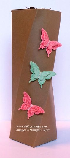Angled Box 1 (Video) - uses Card – Baked Brown Sugar, Crisp Cantaloupe and Pistachio Pudding Ink –  Baked Brown Sugar, Crisp Cantaloupe and Pistachio Pudding Stamp sets – Papillon Potpourri and  Petite Petals Punches – Bitty Butterfly, Elegant Butterfly Bundle – Petite Petals Clear Mount Bundle (stamps & punch)