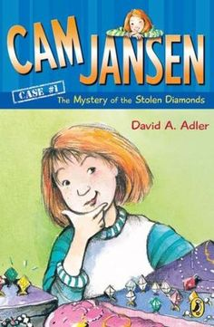 """The Mystery of the Stolen Diamonds (Cam Jansen Mysteries, by David A. Adler - When Jennifer """"Cam"""" Jansen and her friend Eric are at the mall, they witness a robbery at the jewelry store! Can Cam's amazing photographic memory help catch a thief? 2nd Grade Chapter Books, 2nd Grade Reading, Grade Books, Kids Reading, Guided Reading, Mystery Series, Mystery Books, Book Series, Book 1"""