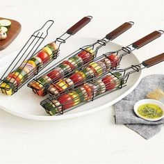 Portable BBQ Grilling Basket Stainless Steel Nonstick Barbecue Grill Basket Tools Mesh Kitchen Tools kitchen accessories#20 Kabobs, Skewers, Kitchen Tools, Kitchen Gadgets, Cooking Gadgets, Kitchen Products, Kitchen Stuff, Kitchen Ideas, Kebabs On The Grill