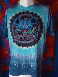 Vintage - Grateful Dead - Steal Your Face - Dead Bear - Liquid Blue - T-shirt -L