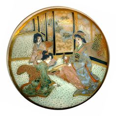 Image Copyright in R C Larner ~ 19th C. Satsuma Pottery Extra Large Family Scene