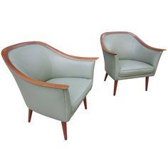 Danish Teak and Leather Arm Chairs