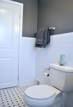 sources: american olean alameda mosaics white porcelain tile, valspar rugged suede wall paint, benjamin moore decorator's white trim paint