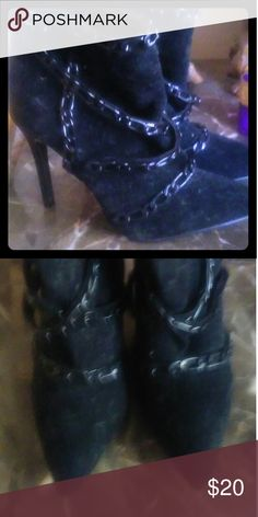 JustFab Boots. Beautiful Black boots with chain accents.  Very chic. JustFab Shoes Ankle Boots & Booties
