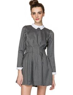 "Look sweet and polished with this cute grey long sleeve dress featuring a cinched pleated waist, and vertical stripes all over.  It has contrast white collar and sleeves. Fully lined with hidden zip closure on back. Wear it with opaque tights and ankle strap high heels, a cute mini city bag will complete your cute prim and proper look. *100% polyester*32""/81cm bust*30.5""/77cm length*Measurements are taken from size small.*Model is wearing size small and model's height is 5'10""/178cm."