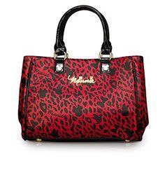Minnie Red/Black Leopard Print Fashion Tote - Front