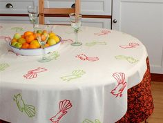 Lime and Tangerine Fantails Cotton Tablecloth