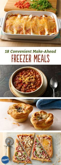 18 Convenient Make-Ahead Freezer Meals: Stock your freezer with these family-favorite meals, and re-heat when you need a night off. We promise they taste just as good when they're reheated! Use our freezer meal cheat sheet and check out our top 10 tips for freezing and reheating for the most delicious results.