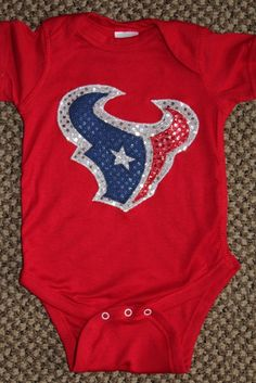 Houston Texans Sequin Onesie T-Shirt Toro Bull on Etsy, $24.00