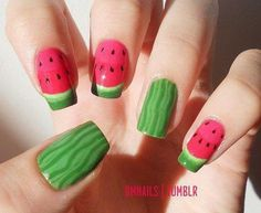 Do you love doing nail art? Are you looking for nail art summer ideas? Check out our collection of 'Watermelon Nail Art Designs for Summer below! Nail Polish Designs, Cute Nail Designs, Acrylic Nail Designs, Nails Design, Awesome Designs, Acrylic Nails, Watermelon Nail Designs, Watermelon Nail Art, Sweet Watermelon