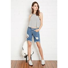 Forever 21 Distressed Denim Bermuda Shorts (33 CAD) ❤ liked on Polyvore