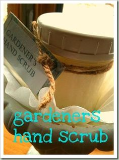 Gardners hand scrub (Variations; orange extract with dried orange peel {in the jar}, or peppermint extract with red sugar crystals)