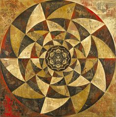 Lotus Spiral (Red), 2013, by Shepard Fairey