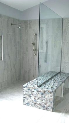 More click [& Bathroom Showers Without Doors Stone Walk In Showers No Doors Double Benched Shower Without Door Glass With Half Walls Sho Cupsrunningovercom Walk In Shower Without Door Astounding Tile Showers Glass Block Source by sldak Master Bathroom Shower, Diy Shower, Small Bathroom, Shower Ideas, Neutral Bathroom, Bathroom Ideas, Bathroom Cost, Bathroom Doors, Bath Ideas