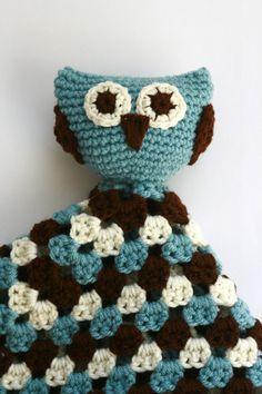 Crochet Chocolate brown, beige, and blue Owl Lovey, security blanket, blankie, blankey, boys. $28.00, via Etsy.