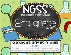 NGSS - Next Generation Science Standards 2nd grade Structure and Properties of Matter P-PS1-1 Plan and Conduct an investigation to describe and classify different kinds of materials by their observable properties.  This packet includes: * Teacher planning directions * Labels for investigation * Blank labels for customizing * Student recording sheet for decribing different properties * Student recording sheet for comparing materials * Student recording sheet for comparing/contrasting ...