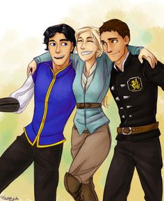 Beautiful art of the original trio! Dorian, Celaena, and Chaol! I love these three so much!
