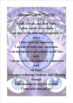 Affirmations for the Third Eye Chakra Zen Meditation, Chakra Meditation, Third Eye Meditation, Chakra Affirmations, Positive Affirmations, Mind Body Spirit, Mind Body Soul, Pranayama, 7 Chakras