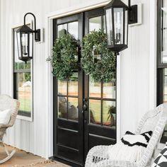 Double Front Entry Doors, Double Doors Exterior, Glass Front Door, Black Windows Exterior, Black Trim Exterior House, Black Front Doors, Exterior House Lights, Front French Doors, Wood French Doors Exterior