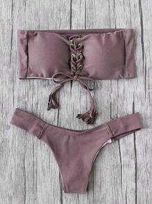 fdf306a75039a Eyelet Lace Up Tassel Bandeau Bikini Set Bralette Bikini