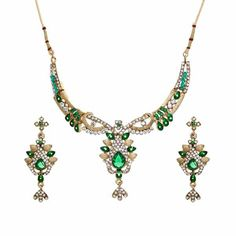 Aaishwarya Glimmering Green Party Necklace Set #necklaceset #partynecklaceset #fashionjewelry