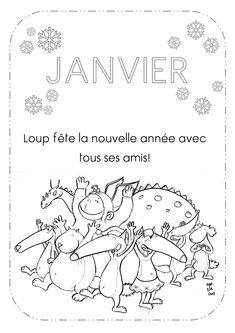 Lovely Coloriage Janvier Loup Dessinbebe Download Wolf, Petite Section, Nursery School, Teaching French, Craft Activities For Kids, Preschool, Bullet Journal, Education, Drawings