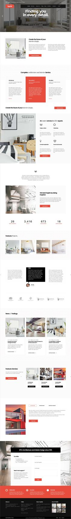 Hachi is clean and modern design responsive #WordPress theme for #architecture and #interior studio website download now..