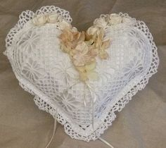 White and tea stain hand crocheted satin heart shaped ring bearer pillow with pearls by poshweddingday on Etsy