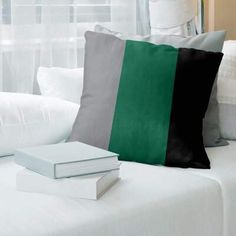 """Dallas Hockey Striped Pillow Cover East Urban Home Color: Black/Victory Green, Size: 26\"""" x 26\"""" #Sponsored , #Affiliate, #Cover#East#Urban Grey Throw Pillows, Floor Pillows, Bed Pillows, Basketball, Hockey, Green And Gold, Blue And White, Gray Green, Green Cream"""
