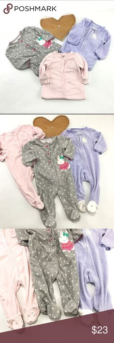 Carters baby sleeper Lot 3 caters onesie all in. Great condition two terry cloth one is soft fleece all size 6 months Carter's One Pieces Bodysuits