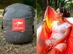 Kammok Roo ($100). Compact, lightweight hammock designed for easy setup. Very high quality material, beautiful design. Make sure you get the Python Straps too ($30).