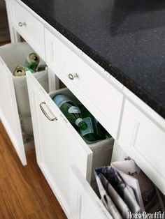 Conceal recycling bins with cabinet facades.