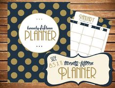 2015 Planner Calendar  SIZE LARGE 8.5 x 11 by BreezyOrganization navy blue and gold planner!!