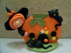 Witch++Black+Cats++Pumpkin+Cottage++by+countrycupboardclay+on+Etsy