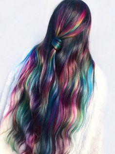 Cute Hair Colors, Hair Dye Colors, Cool Hair Color, Rainbow Underneath Hair, Hair Color Underneath, Fantasy Hair Color, Hair Color For Black Hair, Dark Hair, Colored Hair Tips
