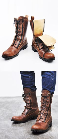 Caramel Leather Boots, Double Zippers & Laces. Men's Fall Winter Fashion.