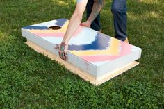 Easy storage corn hole boards- what a smart idea! I'll have to do this when making mine- just need to put some clamps and it would keep them together nicely