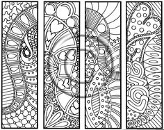"""Digital Download Coloring Page Hand Drawn """"Hearts are Trump"""" Bookmarks Hippie Abstract Zendoodle Bookmark Doodle By Kat. $2.20, via Etsy."""