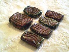 Raku Beads Destash Handmade Bead Supplies by spinningstarstudio