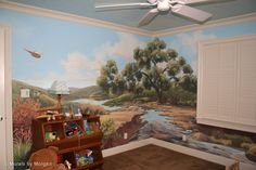 If I lived where I could paint murals on my walls... Nature and Sports Mural for Boys Room - Stream with Oak Tree.