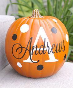 white black personalized pumpkin set zulilyfinds - Personalized Halloween Decorations