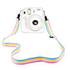 Elvam Camera Neck Shoulder Strap Belt in Rainbow Blue Yellow White Pink Color for Digital Camera / Fujifilm Instax Camera Mini 8 / Mini 8+ / Mini 7s / Mini 25 / Mini 50s / Mini 90