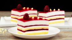 Vă prezentăm o rețetă extraordinară de prăjitură, demna de restaurantele de lux. Prăjitura cu ciocolată albă și zmeură este perfect aranjată în straturi frumos colorate. Alb, roșu și galben sunt culori foarte plăcute pentru o