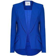 Hebe Studio - The Hebe Suit Blue Royal Girlfriend Blazer (€345) ❤ liked on Polyvore featuring outerwear, jackets, blazers, coats, blue blazer, fitted blazer jacket, asymmetrical jacket, asymmetrical blazer and blazer jacket