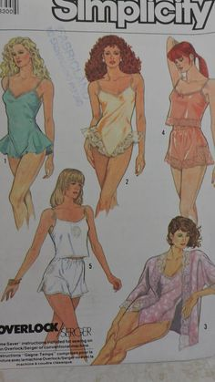 Camisole Teddy Kimono Shorts Delicate Underwear Lingerie Lingerie Patterns, Fashion Patterns, Costume Patterns, Cool Patterns, Lace Applique, Ribbon Bows, Cross Stitch Patterns, Cool Stuff, Stuff To Buy