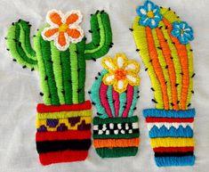Supreme Best Stitches In Embroidery Ideas. Spectacular Best Stitches In Embroidery Ideas. Cactus Embroidery, Mexican Embroidery, Flower Embroidery Designs, Embroidery Applique, Embroidery Stitches, Embroidery Patterns, Creative Flower Arrangements, Creative Textiles, Lesage