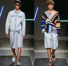MSGM by Massimo Giorgetti 2016 Spring Summer Mens Runway Catwalk Looks - Milano Moda Uomo Collezione Milan Fashion Week Italy - Denim Jeans Sash Waist Shorts Shirt Espadrilles Sandals Chunky Knit Sweater Jumper Patchwork Leggings Side-Snap Breakaway Wide Leg Pants Trousers Mesh Fishnet Perforated Lasercut Topography New York Street Map Rope Harness Outerwear Blazer Suit Jacket Stripes Coat