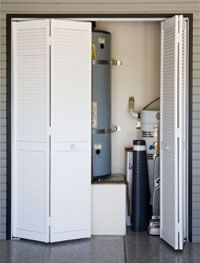 Hide the furnace and water heater so they are still accessible and properly ventilated.