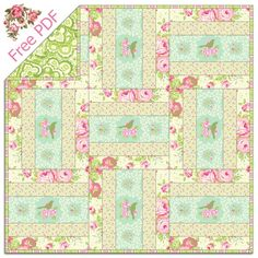 Heather Bailey's Garden District – Free Quilt Pattern + How to Stitch in the Ditch This summery basket weave inspired quilt design is quick to sew together.